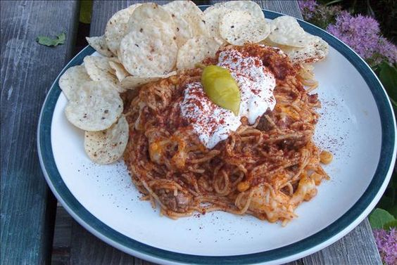 Taco Spaghetti (OAMC) from Food.com: This recipe makes 2 casseroles. One to eat right away and 1 to freeze for future use. Of course, you can freeze both or eat both!