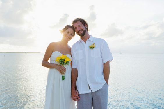 Islamorada Elopement, Florida Keys. Yellow calla bridal bouquet and boutonniere, wedding officiant, and photography by Small Miami Weddings. www.smallmiamiweddings.com