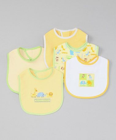 Take a look at this Yellow 'Jungle Friends' Bib - Set of Five by Little Beginnings on #zulily today!