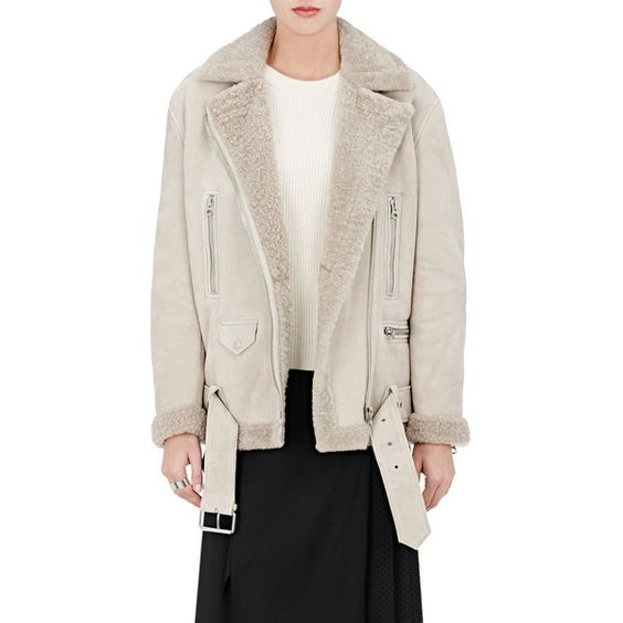 Acne Studios Women's More She Sue Moto Jacket (10,425 ILS) ❤ liked on Polyvore featuring outerwear, jackets, tan, pink zip jacket, pink jacket, moto jacket, motorcycle jacket and biker jacket