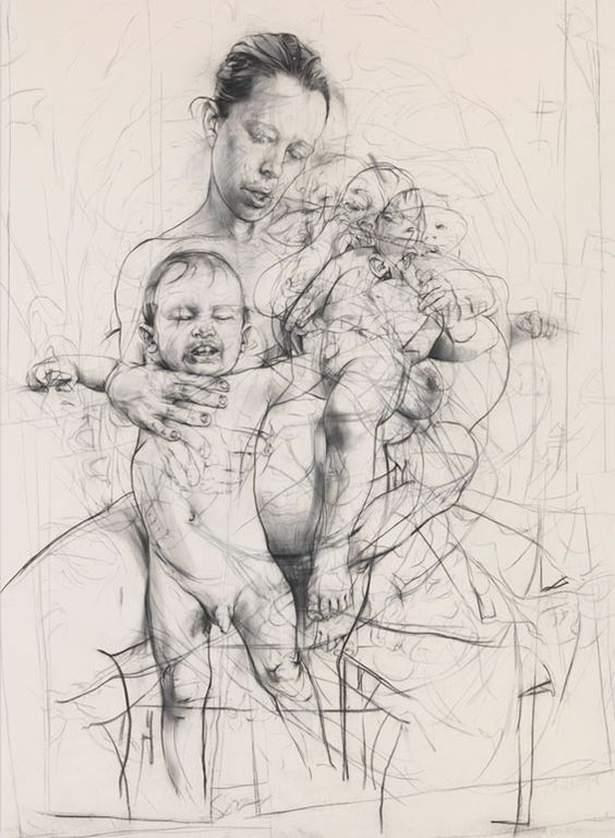 Jenny Saville drawing. Most of her paintings are large nudes, not idealized in any way.