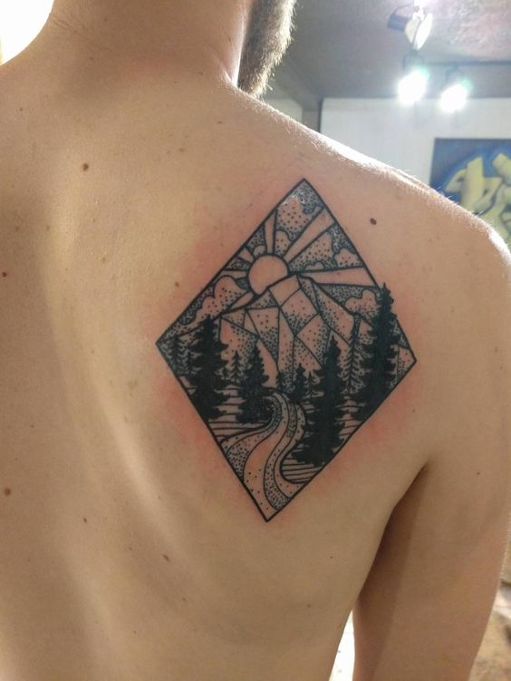 Mountain and river - Ryan Osborne - Monolith Tattoo, Bend OR