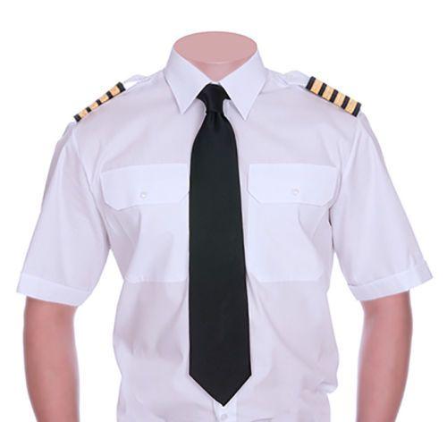 Mens Pilot Shirt Long Sleeve Security Guard Doorman Military White Epaulet