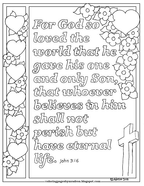 John 3 16 Print And Color Page Hundreds More At My Blog Https Coloringpagesbymradron Blogs Sunday School Coloring Pages Bible For Kids Bible Verse Coloring