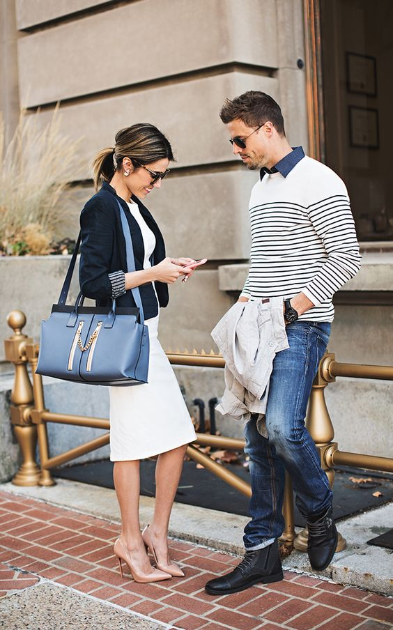 His & Hers Style | Blazer and Midi Pencil Dress | Striped Sweater and Grey Field Jacket