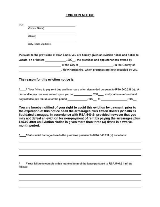 Printable Sample Eviction Notice Form – Legal Forms Eviction Notice