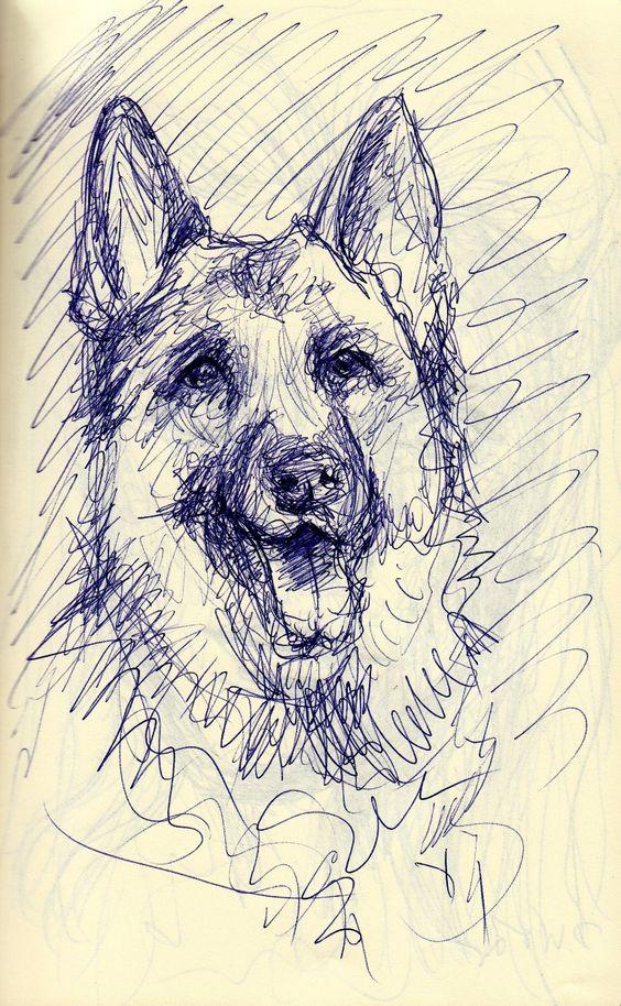 Hundeskizze mit Kugelschreiber