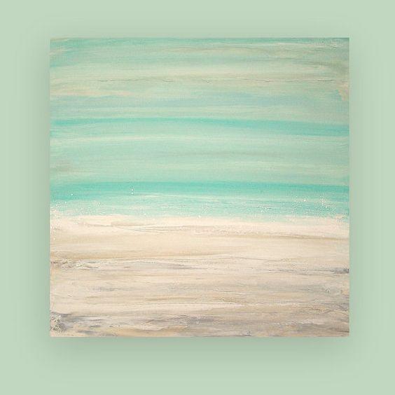 Malerei abstrakte kunst auf leinwand strand shabby chic for Beach mural painting