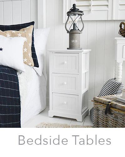 Narrow White Bedside Tables New England Bedroom Furniture In 2020 White Bedside Table Small White Bedside Table Storage Furniture Bedroom