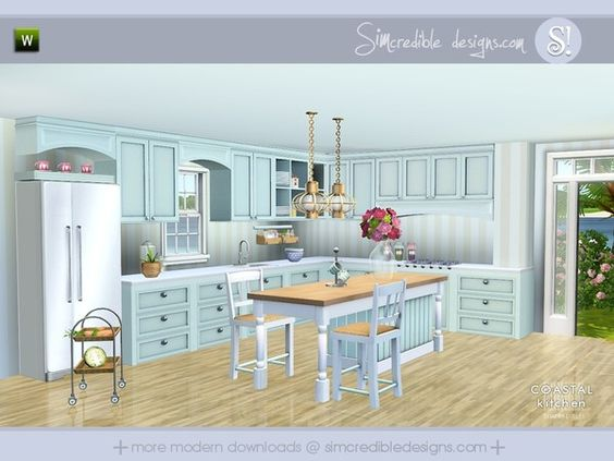 Coastal kitchen by simcredible sims 3 downloads cc for Sims 3 kitchen designs