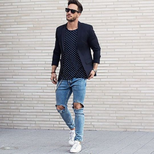 Ripped Jeans And Black Blazer . Menu0026#39;s Outfit | Lu0026C | Menu0026#39;s Fashion | Pinterest | Menu0026#39;s Outfits ...