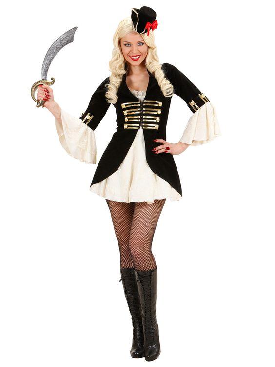 Piraten Kapitänin Damenkostüm schwarz-creme-gold, aus unserer Kategorie Piratenkostüme. Eines ist sicher: Diese Piraten-Kapitänin hat ihre Crew fest im Griff! Die wackere Seeräuberin trotzt allen Gefahren des offenen Ozeans und sieht dabei stets blendend aus! Ein sexy Kostüm für Karneval und Mottopartys mit Piraten-Thema. #Faschingskostüm