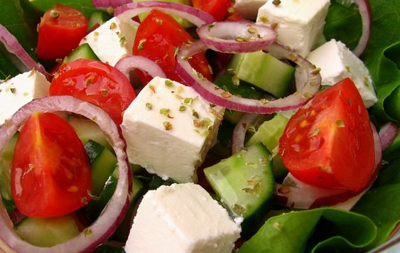 Iceberg Salad with Tomatoes and Feta Cheese
