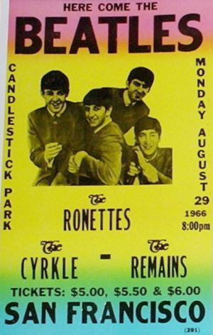In 1966, the Ronettes appeared as an opening act on the Beatles' last U.S. tour. This poster for date at San Francisco's Candlestick Park, August 29, 1966.