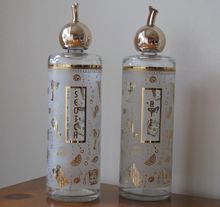 Vintage Frosted Glass Liquor Decanters with Corked Pourers - Set of 2    from WhimsicalVintage on Ruby Lane
