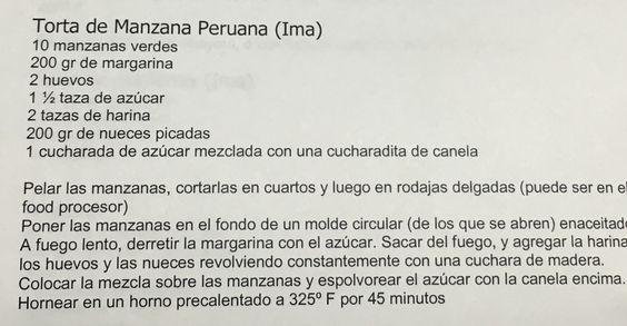 Torta de manzana peruana