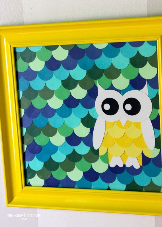 The Homes I Have Made: Owl Paint Chip Art {Little Boy Room Project} so simple, so cute!