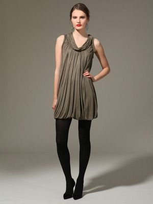 Yigal Azrou, Jersey Cowlneck Ruched Dress