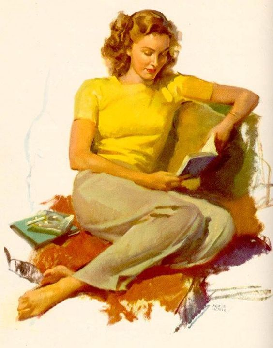 Woman in yellow shirt reading. William Andrew Loomis (American, 1892-1959).: