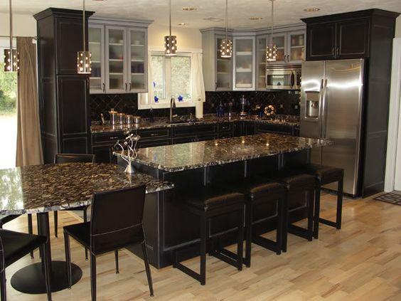 Hickory Floors Dark Cabinets