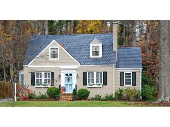 Tan Taupe House Black Shutters Blue Door House Do