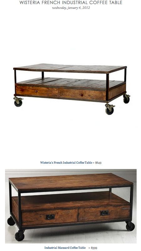Wisteria French Industrial Coffee Table Vs Industrial