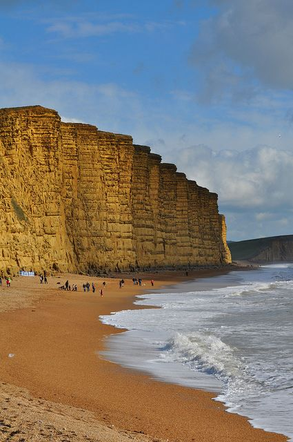 East Cliff, West Bay, Jurassic Coast in Dorset, England look at the horizontal lines!