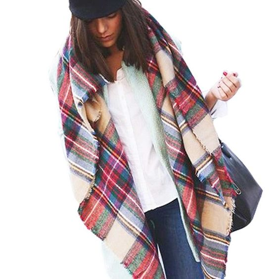 Binmer(TM) Newest Hot Sale Pashmina Lady Beautiful Warm Fashion Wool Blend Blanket Oversized Tartan Scarf Wrap Shawl Plaid Checked