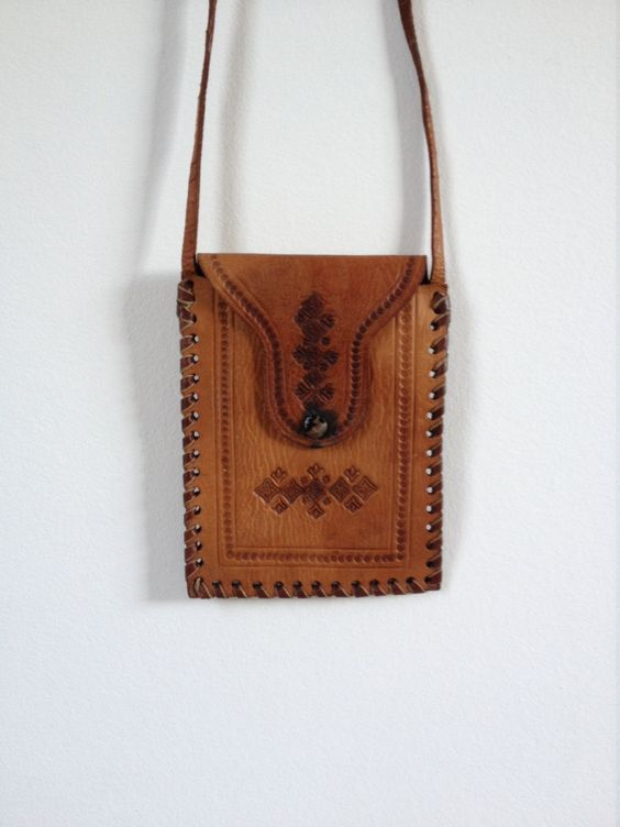 replica birkin handbags - 70's Leather Pouch. Tooled Leather Purse. Tan Leather Bag. Neck ...
