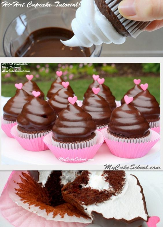 How to make Hi Hat Cupcakes (MyCakeSchool.com).  SO MUCH FUN to make. Nobody can resist a swirl of frosting dipped in chocolate!