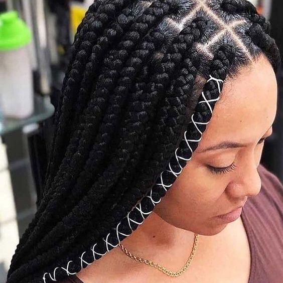 long Fulani box braids