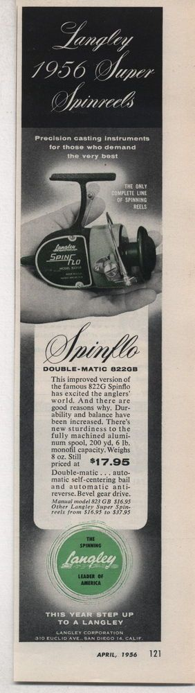 1956 Ad Langley Spin Flo Fishing Reels Double-Matic 822