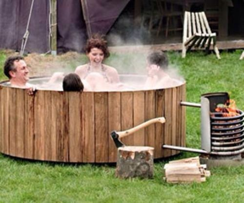 Wood burning hot tub - yes! Who says you can't survive and be happy.