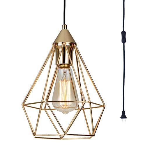 Seeblen Champagne Gold Hanging Light Modern Pendant Light With 15 Ft Plug In Cord Light Fixture In Line Plug In Pendant Light Pendant Light Gold Hanging Lights