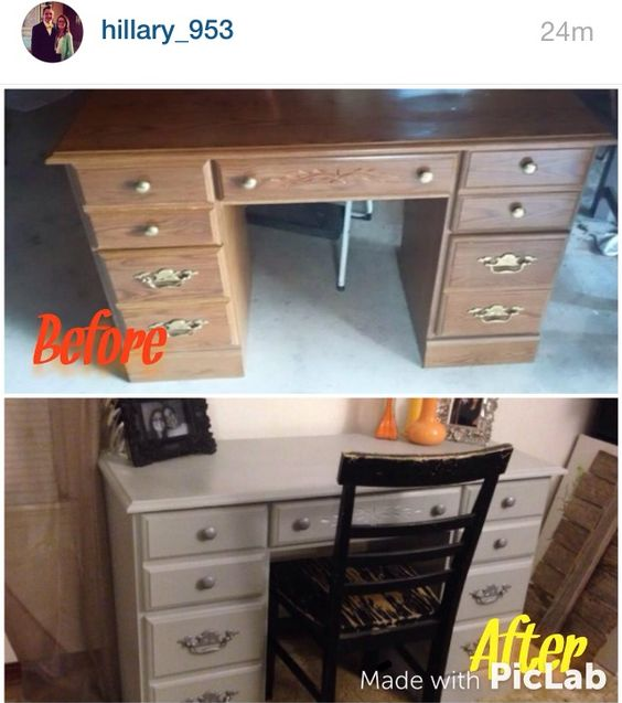 Before and after repainted desk!