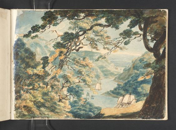 Joseph Mallord William Turner 'View Looking up the Avon from Cook's Folly',   --  From Bristol and Malmesbury Sketchbook   --   1791  -  Watercolour on paper -  Dimensions Support: 185 x 263 mm -  Collection -  Tate
