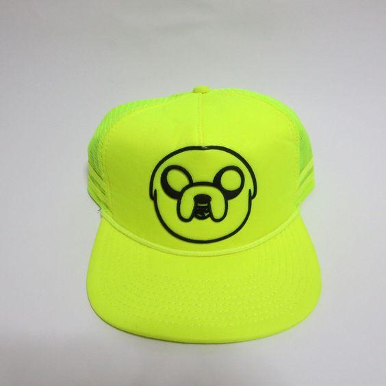 Adventure Time Jake and Finn Cartoon Network Snapback Hat Neon Green #Bioworld #BaseballCap