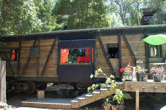 home made from a train car