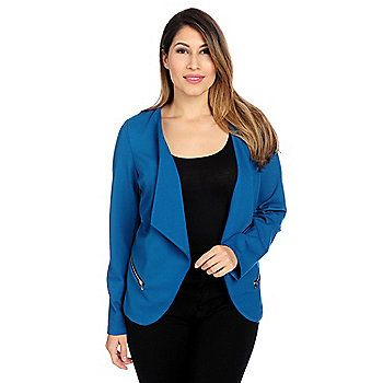 Kate & Mallory® Ponte Knit Fold Back Lapel Zipper Accented Lined Jacket