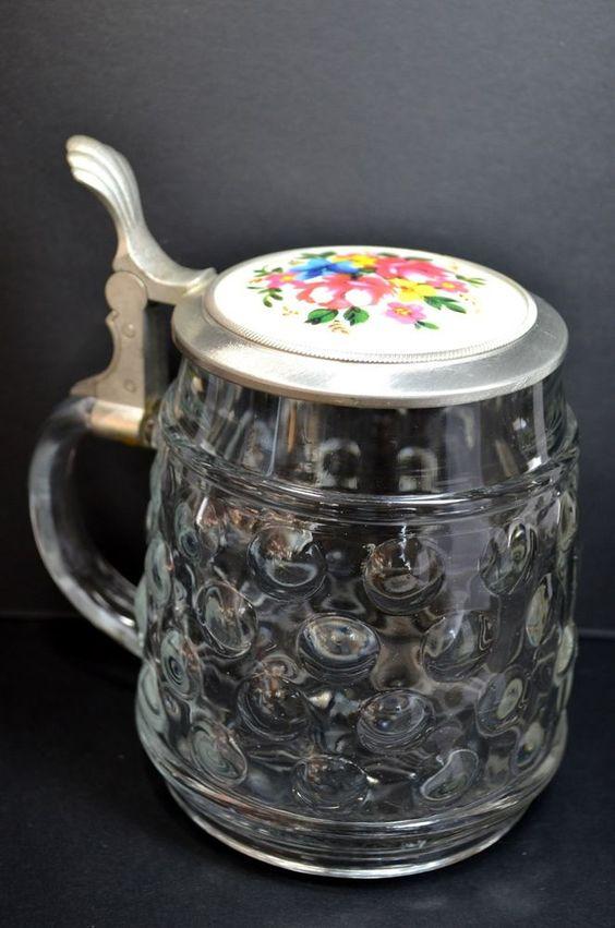 Fab find Vintage Lidded Beer Glass Pewter Stein Vintage REIN ZINN - Bierseidel BMF
