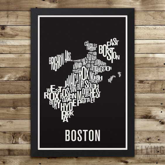 BOSTON Neighborhood Typography City Map Print by FlyingJunction