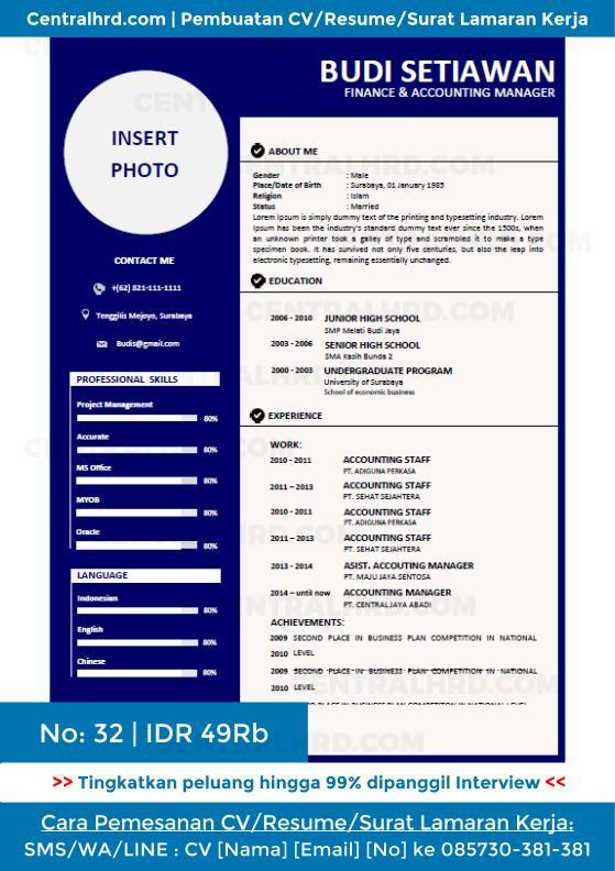 Contoh Resume Cv Surat Lamaran Kerja Cv32a Jpg 559 792 Kerja Desain