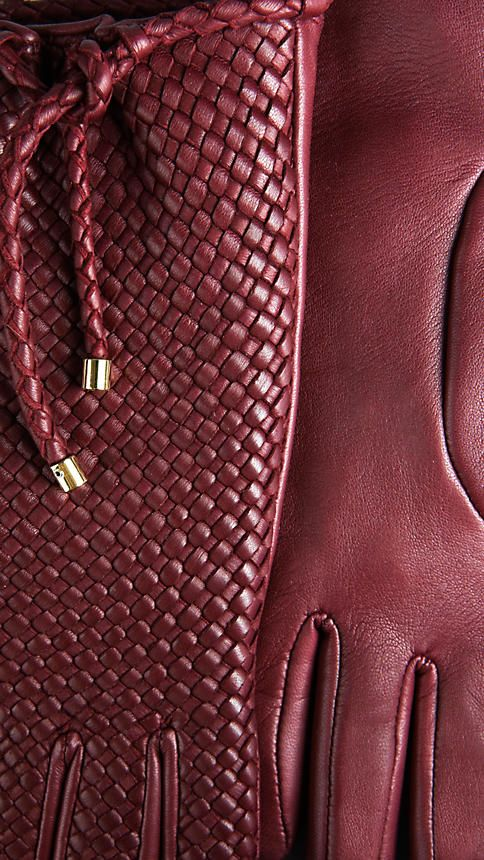 Women's Leather Gloves in Cranberry ~ by Burberry ....