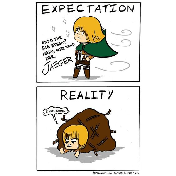 Attack on Titan cosplay: expectation vs. reality.  Find this relatable? Share it with your cosplay friends!   #cosplayproblems #cosplaystruggles #cosplaylife #pandamoniumcomics #cmns105 #youngartist #originalcomic #originalart #cutecomic #relatablepost #shingekinokyojin #shingekinokyojincosplay #attackontitan #attackontitancosplay #snkcosplay #aotcosplay #arminarlert #scoutinglegion #surveycorps #animecosplay #anime #manga #brushpen