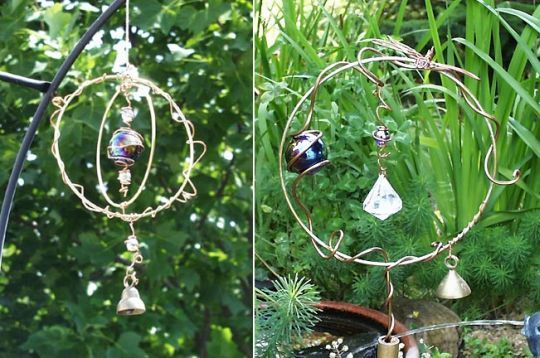 Wire & Copper Art - Wire Hoop Suncatcher and Stake -