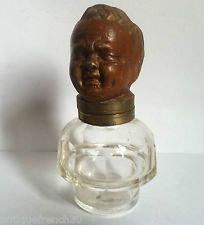Ancien rare encrier tête de bébé terre cuite, style Napoléon Empire inkwell