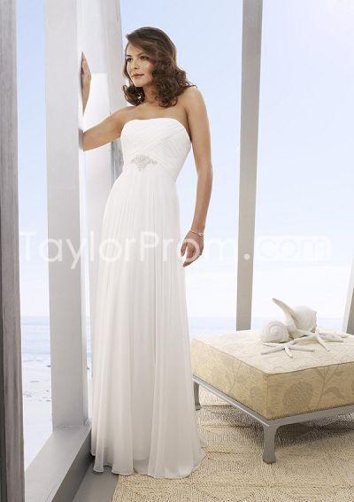 beach wedding dresses empire column floor length
