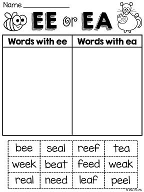 Worksheets Ea Words ee ea worksheets activities no prep words and word sort much more perfect vowel pairs practice