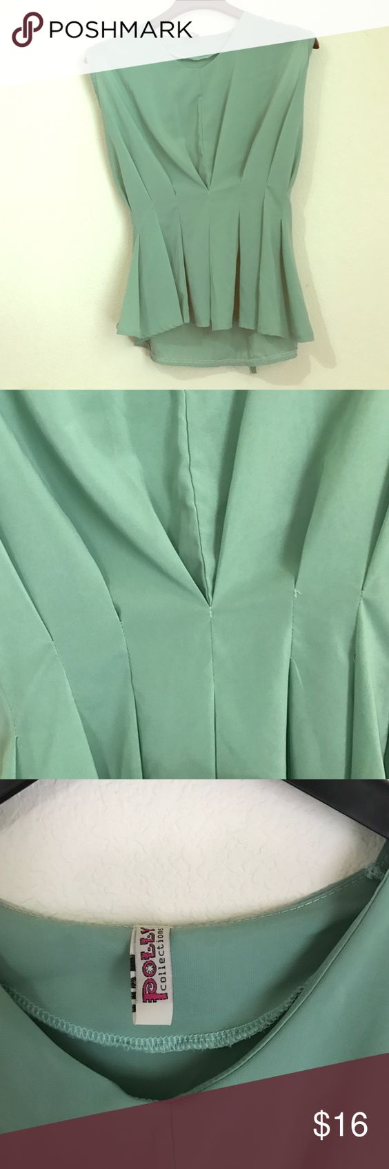 Green Blouse Green sleeveless blouse tie in the back. Size M. polly collection Tops Blouses