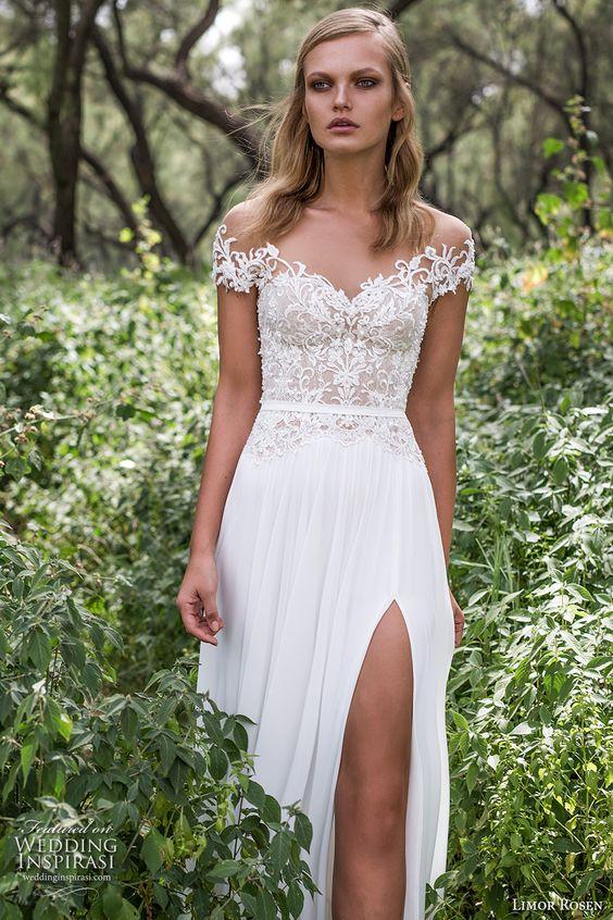 limor rosen 2017 bridal off the shoulder sweetheart neckline lace heavily embellished bodice skirt side split sexy elegant a  line wedding dress scoop back long train (iris) zv